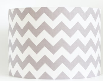 Lampshade in chevron grey & white fabric, zig zag, hand made drum lampshade