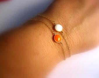 Dainty Framed Glass Bracelet - charm bracelet - wedding bracelet - chain bracelet - friendship bracelet - white bracelet