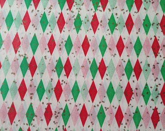 Vintage Christmas Gift Wrapping Paper by Cascade - Masculine For Him Christmas Argyle with Gold Confetti - 1 Unused Full Sheet Gift Wrap