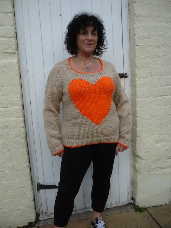 Knitting Needles Norwich : Heart jumper chunky knitting pattern one size adult
