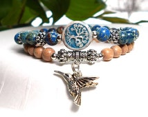 Blue Bracelet, Hummingbird Charm, Tree of Life Bracelet, Tree Bracelet, Hippie Bracelet, Nature Girl, Set of 2 bracelets, Gift under 30