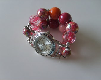 Double Stranded Pink Beaded Watch Band Set 69