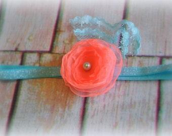 hot coral chic flower with aqua glitter headband