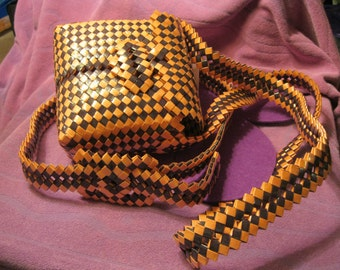 WOVEN PURSE and BELT-Orange and Black