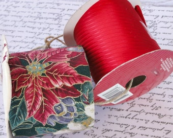 2 Rolls Red Poinsettia Ribbon, Christmas Holiday, Wide, Fabric, Ribbed, Gift Wrap, Packaging, Craft Ribbon Destash Lot