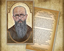 St. Maximilian Kolbe  Holy Card or Wood Magnet  #0142