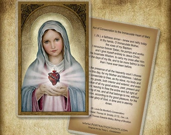 Immaculate Heart of Mary Holy Card or Wood Magnet #0023