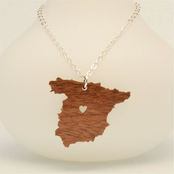 wooden spain necklace custom made wooden laser cut going