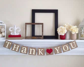Thank You Sign - Rustic Wedding Banner Photo Prop - Wedding Sign - Wedding Decoration - Thank You Banner