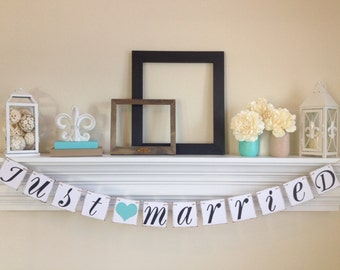 Just Married Sign -Just Married Banner - Wedding Decoration - Just Married Car Sign - Wedding Photo Prop, Lt. Teal Wedding Decor