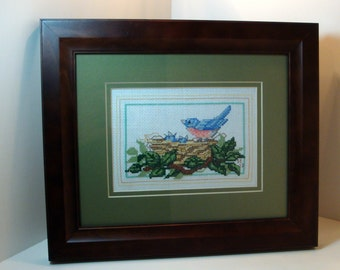 """Cross Stitch Embroidered """"Eastern Bluebird"""" Bird Watching Picture  (Framed - Size 8"""" x 10"""")"""