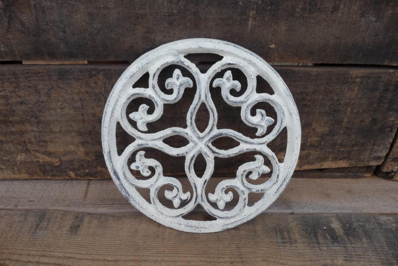Choose color cast iron fleur de lis scroll pattern trivet