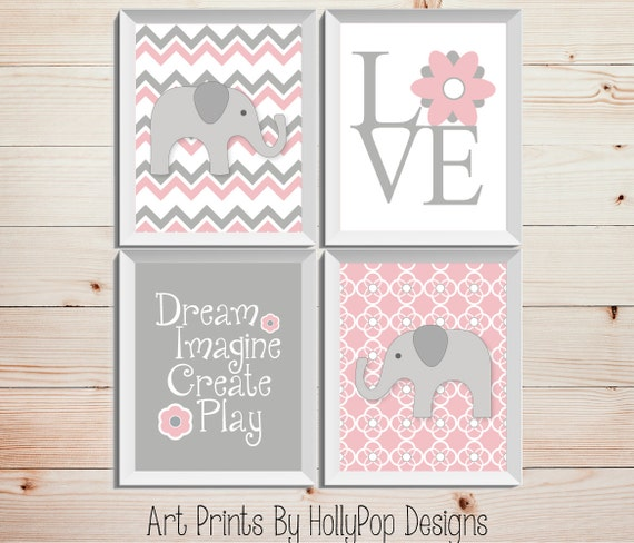 Girly Pink Nursery Decor: Pink Gray Nursery Decor Baby Girl Nursery Wall Decor Elephant