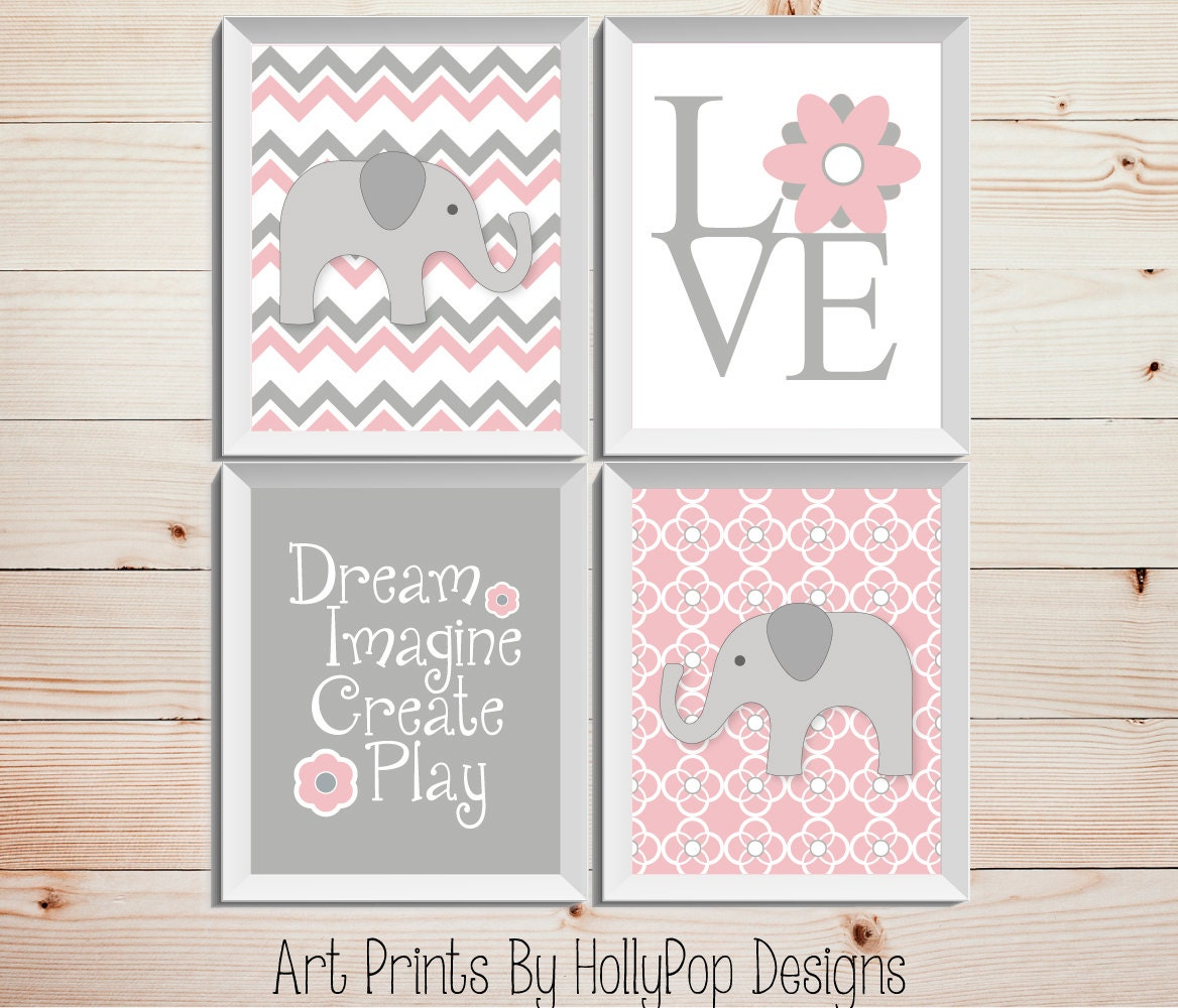 Pink gray nursery decor baby girl nursery wall decor elephant for Pink wall art