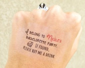 """4 """"Buy Me a Drink"""" BACHELORETTE PARTY temporary tattoos customized w/bride's name"""