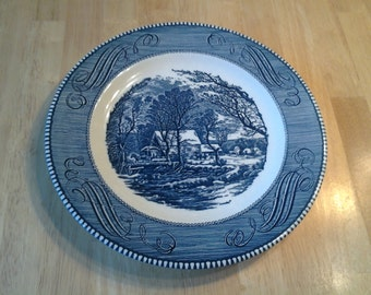 """On Sale Collectible China Currier and Ives """"The Old Grist Mill"""" 10 inch Chop Dinner Plate"""