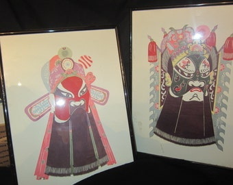 """REDUCED Two Vintage Antique Asian Fine art Warrior Paintings signed framed 14.5"""" tall 1075"""" wide 1"""" deeo"""