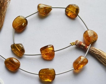 Yellow Tourmaline smooth Nuggets 9 pc in Strand