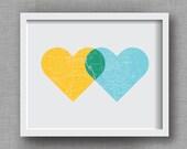 Personalized Map Art Print, Intertwining Hearts - Custom Map Artwork - Yellow, Aqua, Emerald - Wedding Anniversary Gift, Gift for Couples