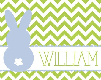 Personalized Placemat - blue and green Easter bunny 12x18 laminated placemat