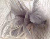 Petite dove gray & cream ivory Feather Fascinator hair clip accessory