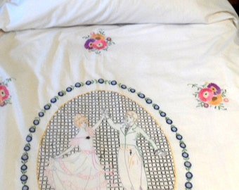 Colorful cotton twin bedspread with romantic embroidered figural design / vintage dancing couple