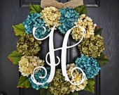 """Large, Full, Customizeable Hydrangea Door Wreath for Spring and Summer, 24"""" Wreath With Vine Monogram"""
