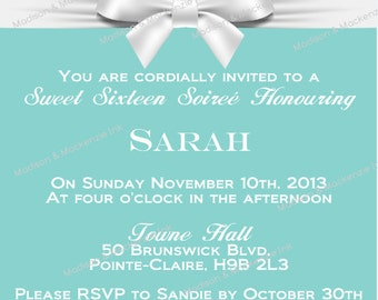 Designer inspired invitation /e-vite - bow printable