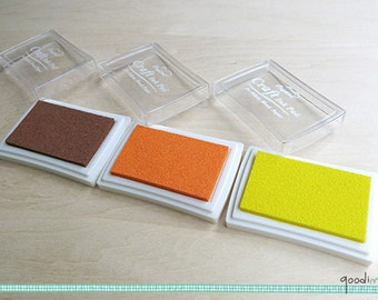 Brown Ink Pad, Tangerine Ink Pad, Yellow Ink Pad for Paper, Wood and Fabric // Your Choice of Color - Chocolate, Lemon, Orange