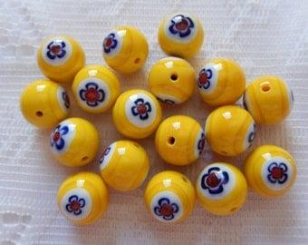 17  Sun Yellow Red Blue & White Millefiori Flower Lampwork Round Glass Beads  12mm