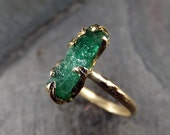 Raw Emerald Ring in 14K yellow gold green uncut rough gemstone recycled gold stacking size 6 1/2 statement byAngeline