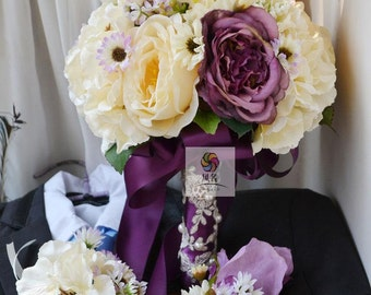 wedding bouquet artificial real touch flower vintage rose, hydrangea,daisy