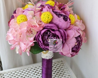 wedding bouquet artificial flower purple yellow, poney, hydrangea
