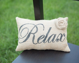 Relax Decorative Pillow Decor Pillow Simple Pillow burlap pillow14x9 accent pillow