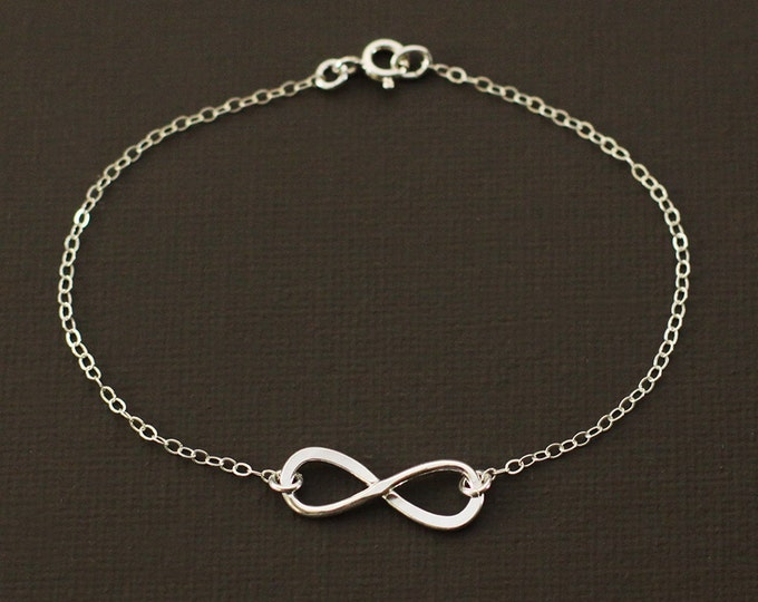 Silver Infinity Bracelet - Hand Hammered Sterling Silver