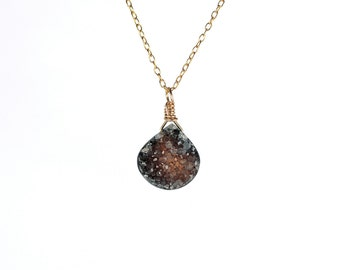 Druzy necklace - crystal necklace - raw crystal necklace - A little druzy teardrop wire wrapped onto a 14k gold vermeil chain