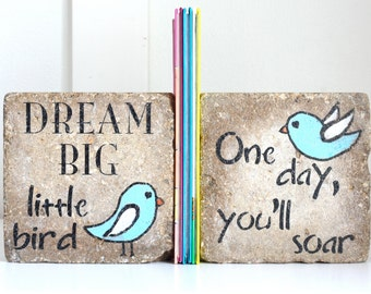 Childrens Bookends- dream big little one -Nursery Decor/ Kid Room Decor/ Woodland Nursery