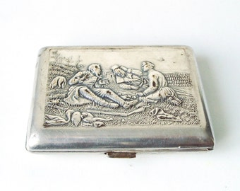 Cigarette Case, Vintage Hunting Theme, Russian Box for Business Cards, Smoker Accessories, Metal Wallet, Soviet Gift USSR