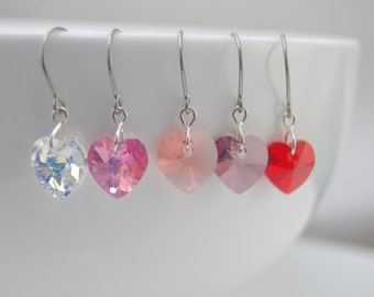 Sale - Titanium earrings, Swarovski heart earrings, Swarovski heart titanium earrings - Birthday gift