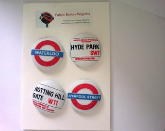 London Ungerground fabric covered button fridge magnets set of 4