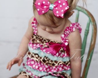 Polka Dot and Leopard Print Satin Romper Set - Satin Petti Romper and Matching Headband, Baby Girl Romper and Headband, Photography Prop