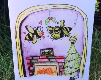 Hap-BEE Holidays - Zom-BEE/Zombie Bee Greeting Card, Christmas - Watercolor Illustration