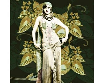 Belly dancer, vintage art, digital print, art deco, 1920 s, burlesque, photomontage, burlesque belly dancer, Ziegfeld follies, boudoir art