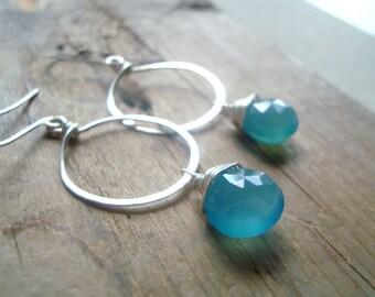 Blue Chalcedony Hoop Earrings Metalwork Summer Fashion Sterling Silver Modern Beachy Jewelry Small Hoops Gemstone Earrings Gifts Under 40
