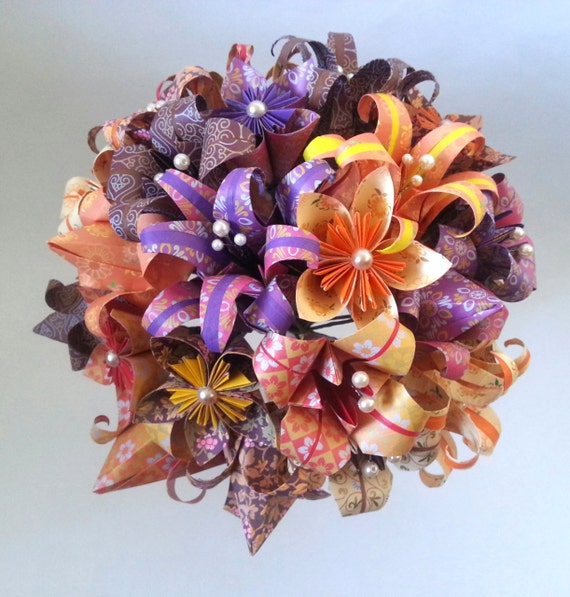 paper flower origami wedding bouquet alternative bride paper