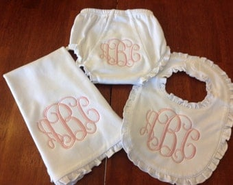 Ruffle Bib, Burp Cloth, and Diaper cover set