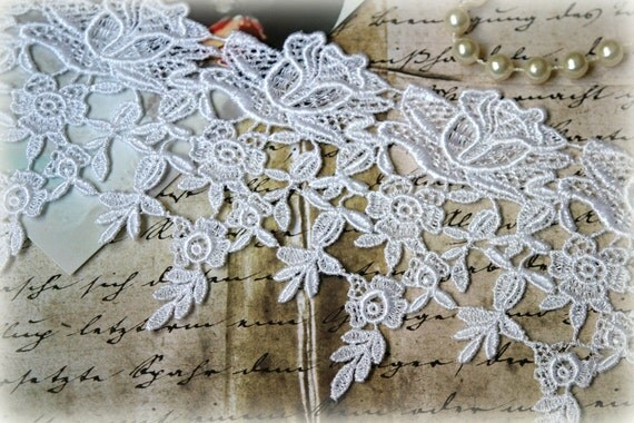 White Venice Lace Trim for Appliques, Altered Art, Costumes, Lace Jewelry, Headbands, Sashes, Sewing, Crafts GL-116