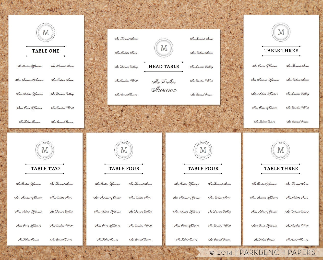 Seating chart template classic monogram by parkbenchpaperie for Copc table f template