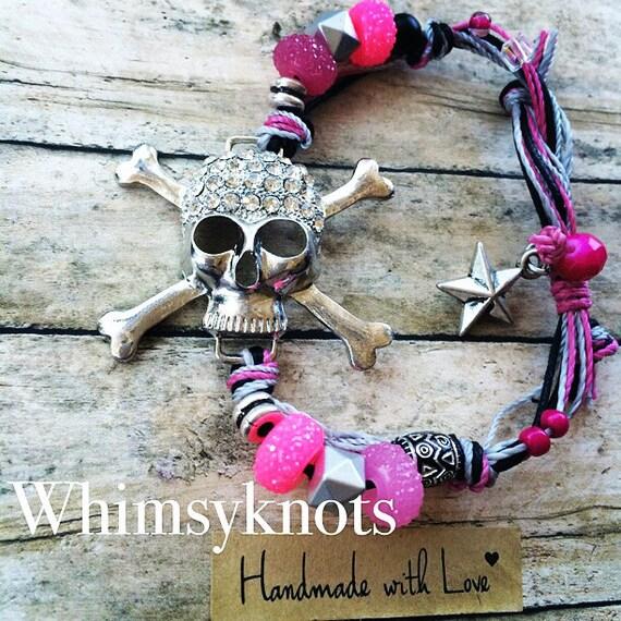 "Skull Pendant Bracelet. Fun Casual Bracelet to bring some sparkle to your ""rocker"" fashion."