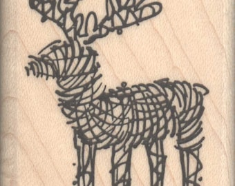 Reindeer Lawn Ornament Christmas Rubber Stamp - 890a